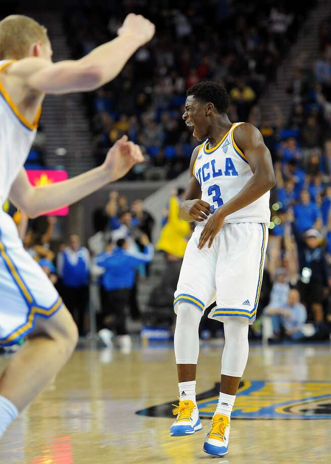 UCLA's Aaron Holiday reacts after making a three-point basket in the game's final minute against Arizona State. Photo: Michael Baker, Associated Press