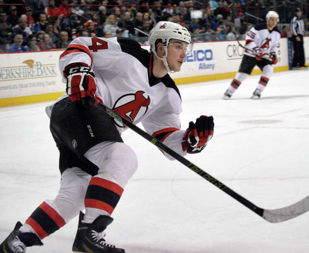 Albany Devils' #14 Reid Boucher in action during Saturday's game against the Lehigh Valley Phantoms at the Times Union Center Jan. 9, 2016 in Albany, NY. (John Carl D'Annibale / Times Union)