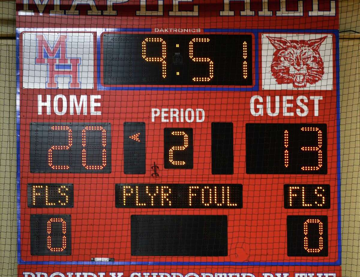 Scoreboard shows resetting of fouls after the first quarter of the Hudson-Maple Hill girls' basketball game Saturday Jan. 9, 2016 in Castleton, NY. (John Carl D'Annibale / Times Union)