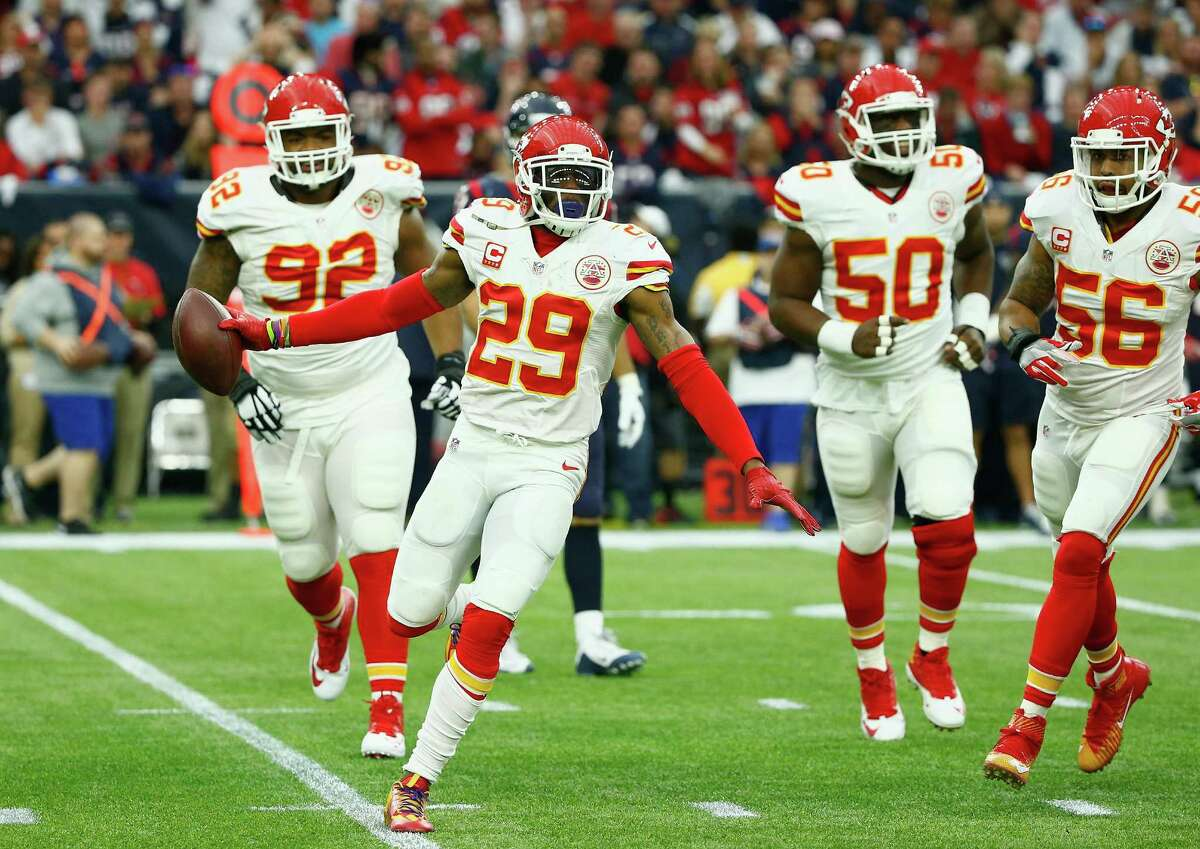 HOUSTON, TX - JANUARY 09: Eric Berry #29 of the Kansas City Chiefs celebrates his first quarter interception against the Houston Texans during the AFC Wild Card Playoff game at NRG Stadium on January 9, 2016 in Houston, Texas. (Photo by Scott Halleran/Getty Images) ORG XMIT: 598791319