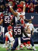 Linebacker Whitney Mercilus (59) had a busy day for the Texans' defense, but he can only look on helplessly as the Chiefs celebrate a touchdown.