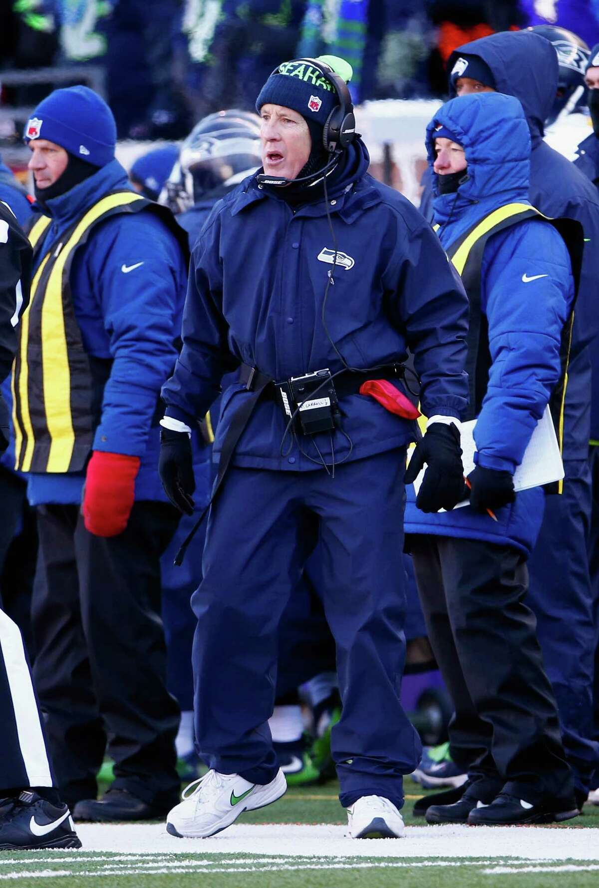 MINNEAPOLIS, MN - JANUARY 10: Head coach Pete Carroll of the Seattle Seahawks stands on the sideline in the first half against the Minnesota Vikings during the NFC Wild Card Playoff game at TCFBank Stadium on January 10, 2016 in Minneapolis, Minnesota.