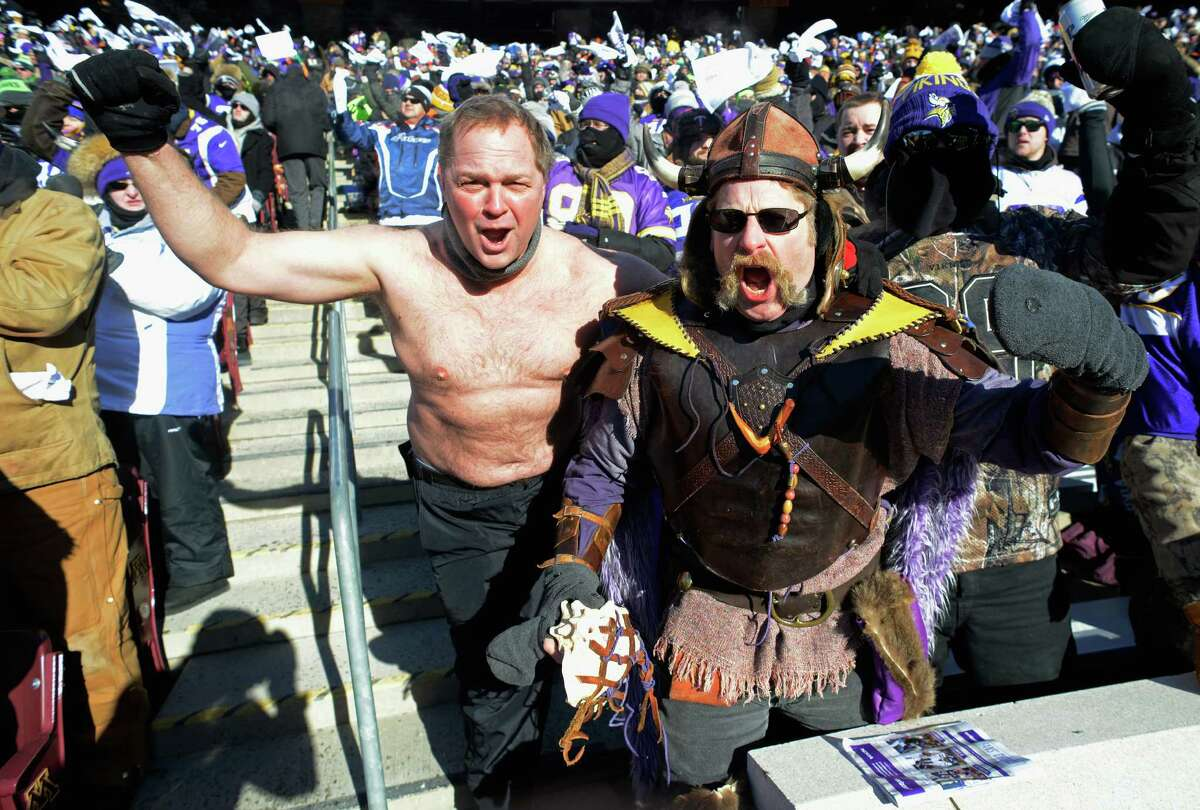 MINNEAPOLIS, MN - JANUARY 10: Minnesota Vikings fans cheer during the NFC Wild Card Playoff game between the Minnesota Vikings and the Seattle Seahawks at TCFBank Stadium on January 10, 2016 in Minneapolis, Minnesota.