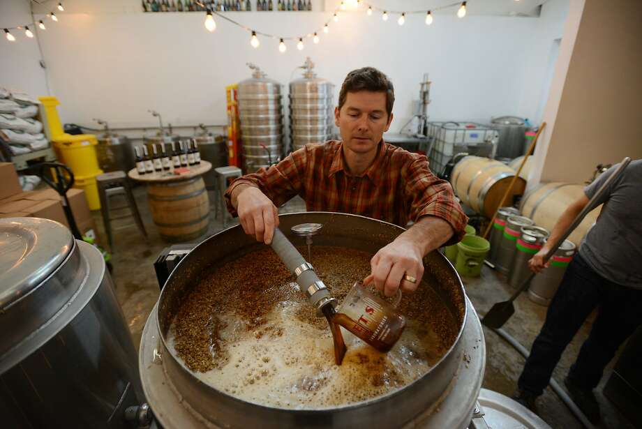 Mad Fritz founder and master brewer Nile Zacherle working on The Fox and the Leopard doppelbock lager at his brewery in St. Helena, California. January 9, 2016. Photo: Erik Castro, Special To The Chronicle