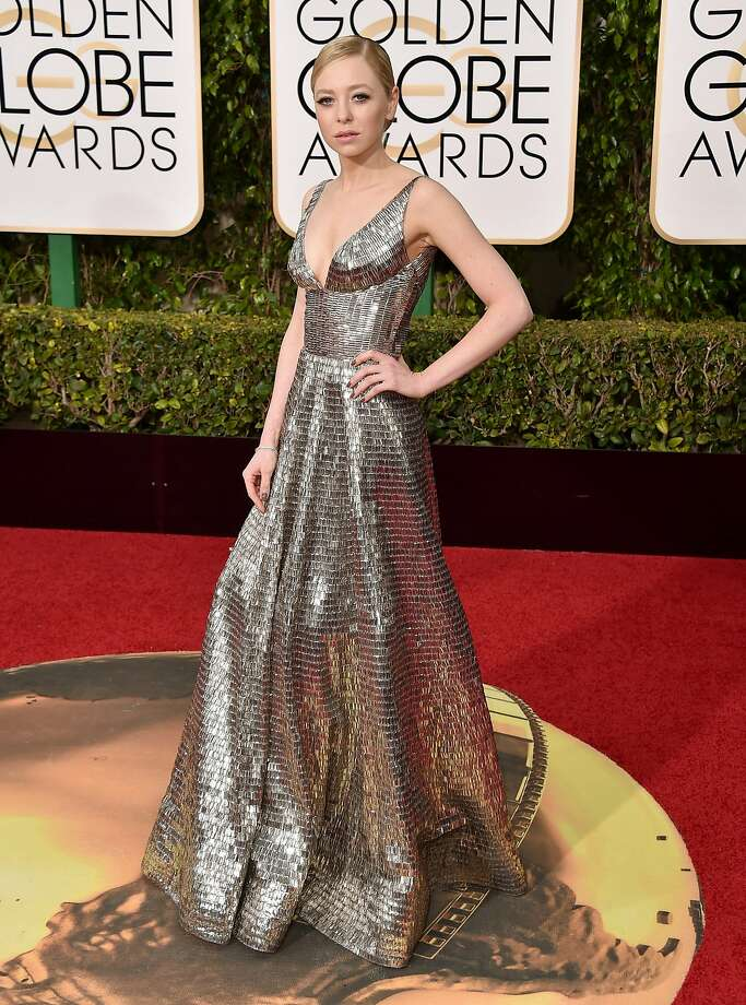 Portia Doubleday arrives at the 73rd annual Golden Globe Awards on Sunday, Jan. 10, 2016, at the Beverly Hilton Hotel in Beverly Hills, Calif. (Photo by Jordan Strauss/Invision/AP) Photo: Jordan Strauss, Associated Press