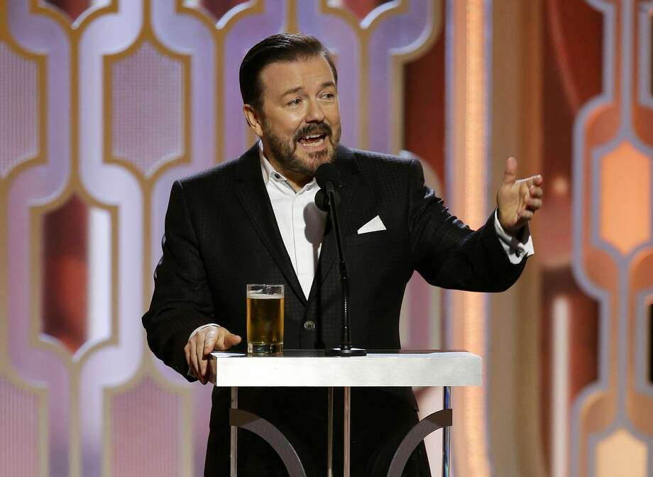 In this image released by NBC, host Ricky Gervais speaks at the 73rd Annual Golden Globe Awards at the Beverly Hilton Hotel in Beverly Hills, Calif., on Sunday, Jan. 10, 2016 -- (Paul Drinkwater/NBC via AP) Photo: Paul Drinkwater, Associated Press