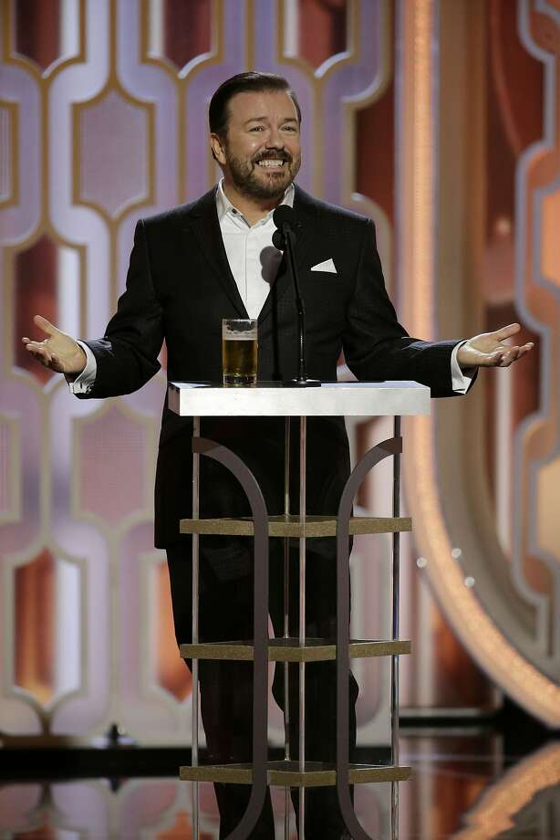 In this handout photo provided by NBCUniversal,  Host Ricky Gervais speaks onstage during the 73rd Annual Golden Globe Awards at The Beverly Hilton Hotel on January 10, 2016 in Beverly Hills, California. Photo: Handout, Getty Images