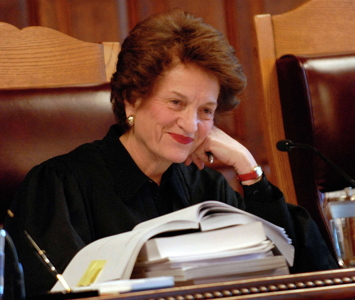 FILE - In this Nov. 20, 2008, file photo Chief Judge Judith Kaye listens to her last session of oral arguments at the New York Court of Appeals in Albany, N.Y. Kaye, the first woman appointed to New Yorkís top court and later its chief judge, died Wednesday Jan. 6, 2016, the state court system said. She was 77 and lived in Manhattan. The cause of her death wasnít initially available. (AP Photo/Hans Pennink, File) ORG XMIT: NYR102