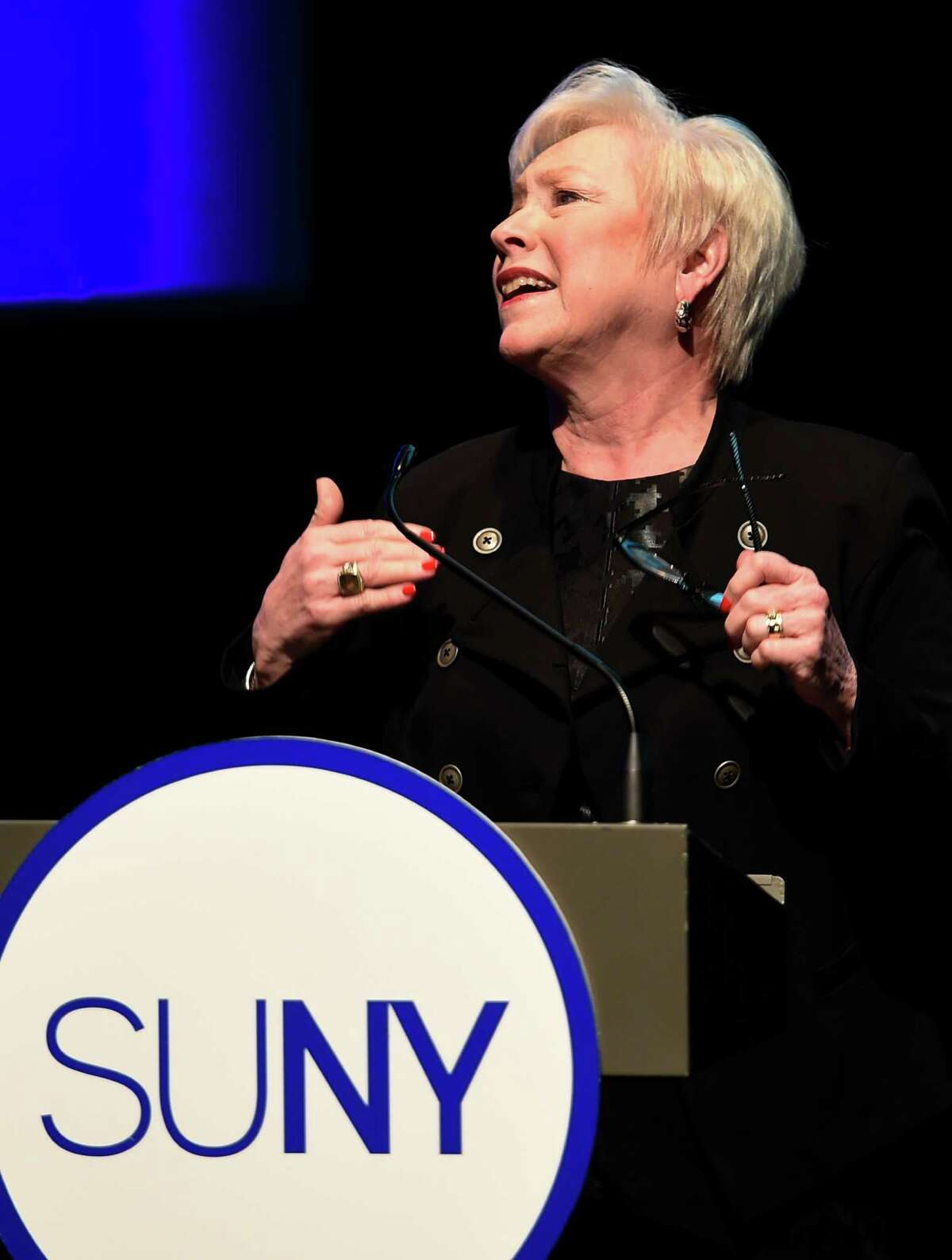 State University of New York System Chancellor Nancy Zimpher gives her State of the University address at the Empire State Plaza Friday Jan. 23, 2015 in Albany, N.Y. (Skip Dickstein/Times Union)