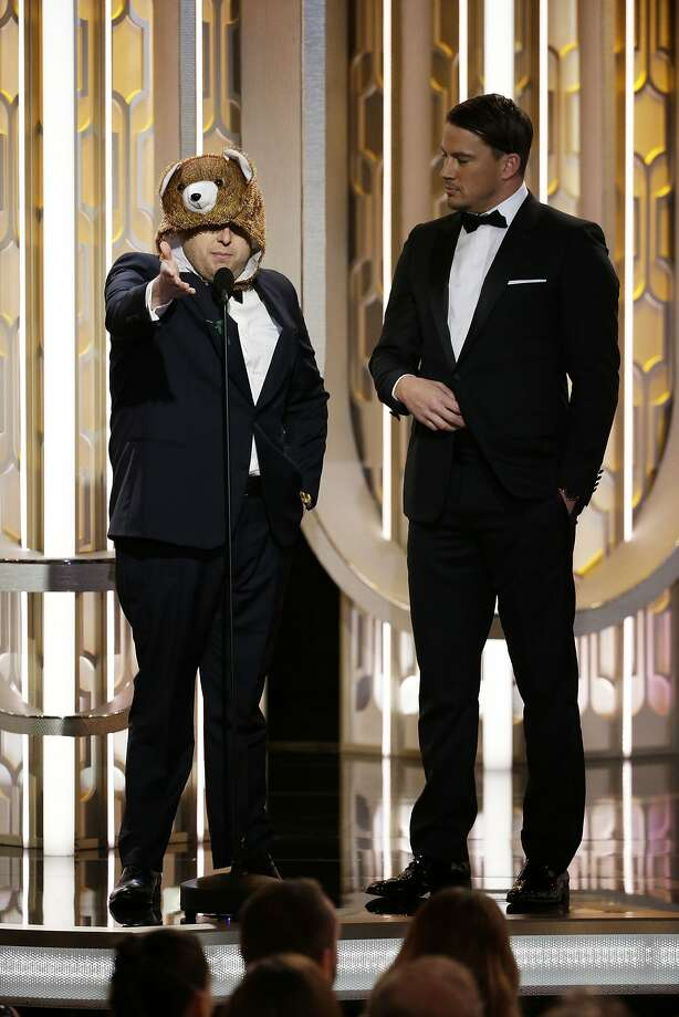 BEVERLY HILLS, CA - JANUARY 10:  In this handout photo provided by NBCUniversal,  Presenters Jonah Hill and Channing Tatum onstage during the 73rd Annual Golden Globe Awards at The Beverly Hilton Hotel on January 10, 2016 in Beverly Hills, California.  (Photo by Paul Drinkwater/NBCUniversal via Getty Images) Photo: Handout, Getty Images