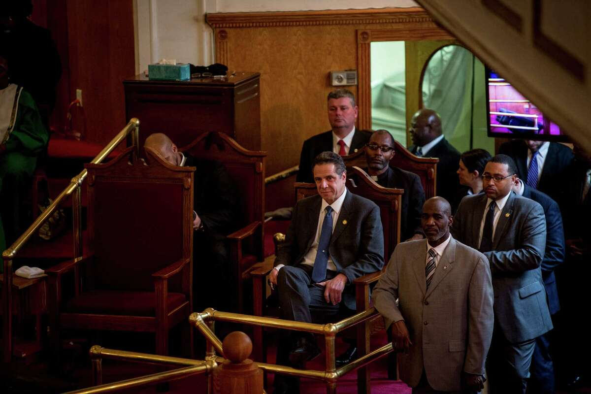 New York Governor Andrew Cuomo speaks at a church service at Mount Neboh Baptist Church in Harlem, on Jan. 10, 2016. By Anthony Lanzilote/Newsday