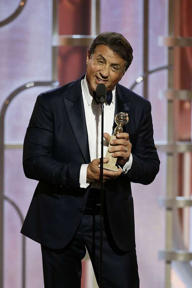 "BEVERLY HILLS, CA - JANUARY 10: In this handout photo provided by NBCUniversal, Sylvester Stallone accepts the award for Best Supporting Actor - Motion Picture for  ""Creed"" onstage during the 73rd Annual Golden Globe Awards at The Beverly Hilton Hotel on January 10, 2016 in Beverly Hills, California.  (Photo by Paul Drinkwater/NBCUniversal via Getty Images) Photo: Handout, Getty Images"