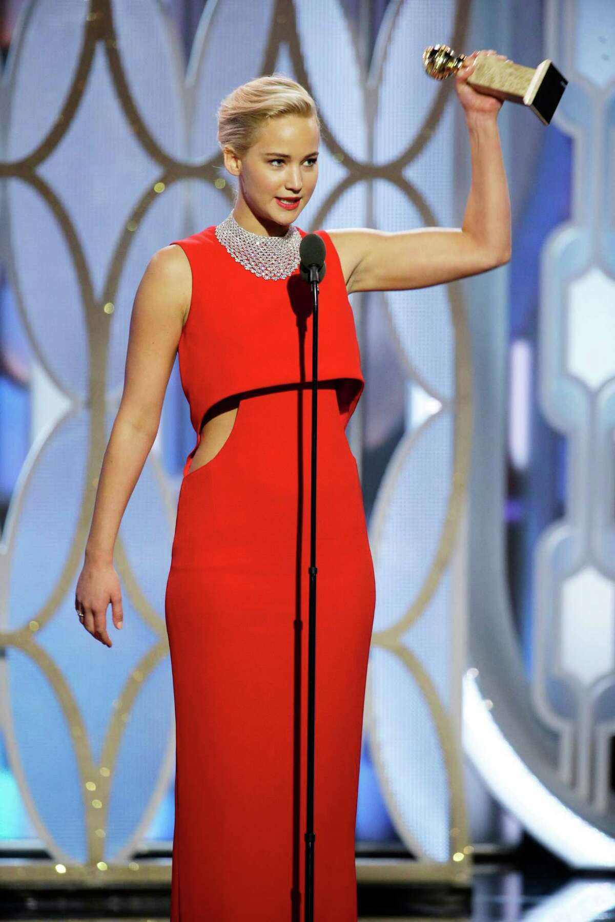 Jennifer Lawrence - Best Classic red carpet with trendy cut-outs. And, oh, that hair!
