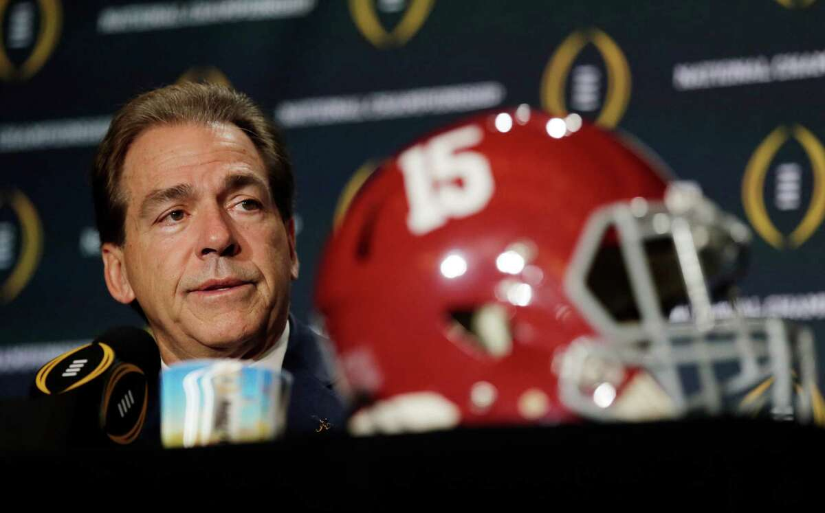 Alabama head coach Nick Saban speaks during a news conference for the NCAA college football playoff championship game Sunday, Jan. 10, 2016, in Glendale, Ariz. (AP Photo/Chris Carlson) ORG XMIT: CFC114