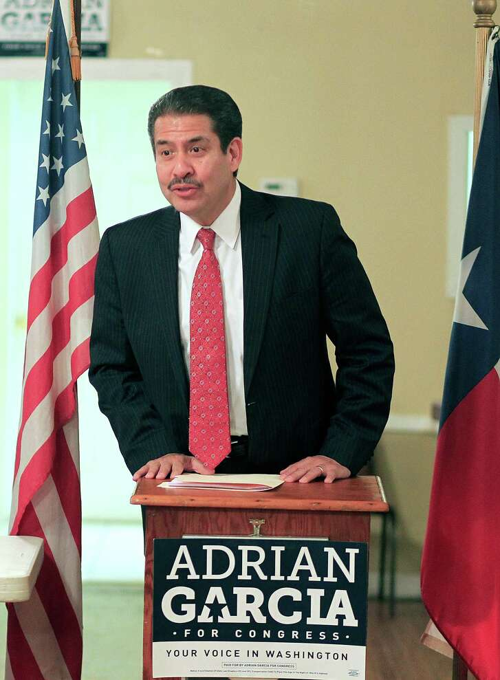 Adrian Garcia, at a town hall meeting on gun control at the Lindale Civic Club on  Thursday, has created some enmity among Democrats with ties to Green.