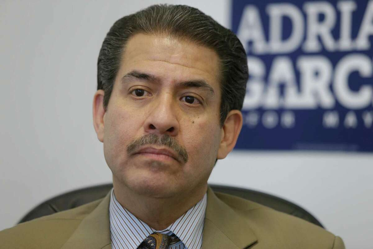 Former Harris County sheriff Adrian Garcia, a candidate for Houston mayor, speaks in his campaign office Thursday, Sept. 24, 2015, in Houston. ( Melissa Phillip / Houston Chronicle )