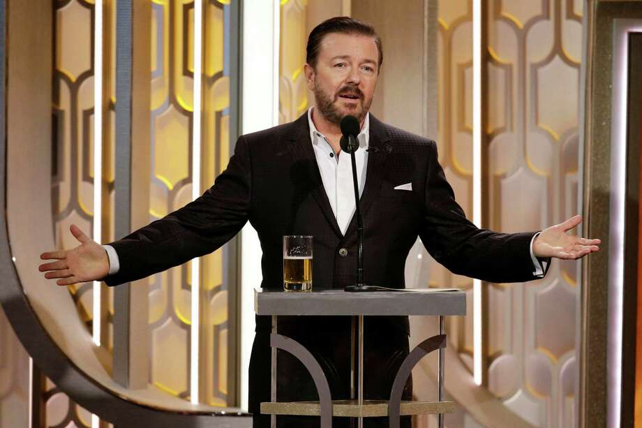 In this handout photo provided by NBCUniversal, Host Ricky Gervais speaks onstage during the 73rd annual Golden Globe Awards at the Beverly Hilton Hotel on Jan. 10, 2016 in Beverly Hills, California. Photo: Handout / 2016 NBCUniversal Media, LLC