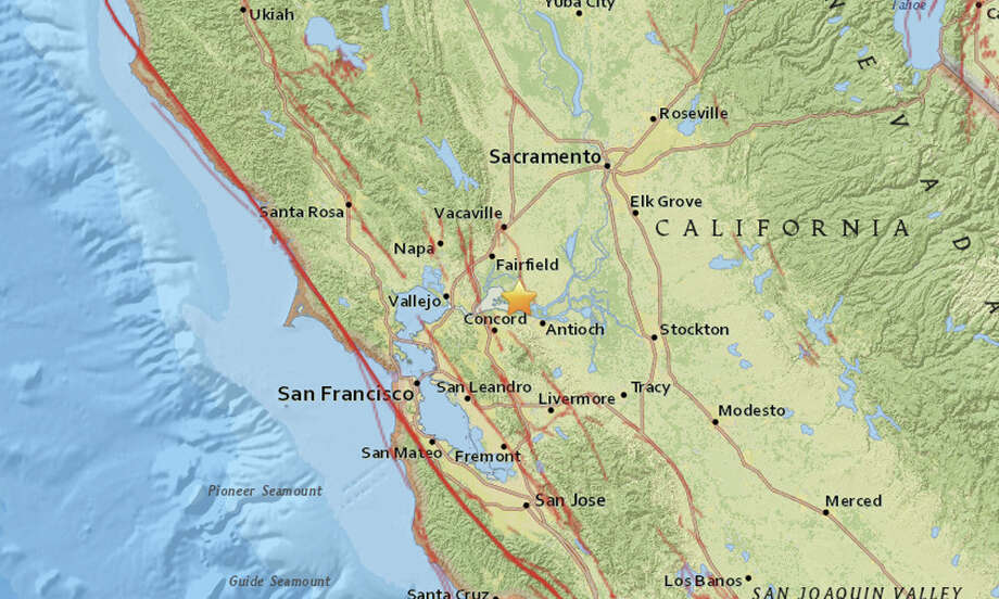 A 2.6-magnitude earthquake struck about four miles northwest of Pittsburg, Calif., at 2:33 am on January 11, 2016. Photo: USGS