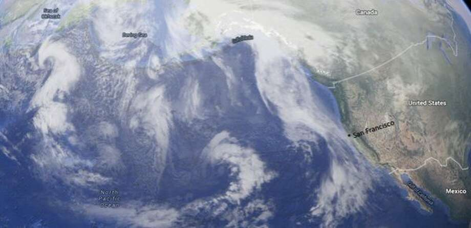 A series of storms were lined up across the Pacific on Monday, Jan. 11, and could bring rain off-and-on to the Bay Area through the middle of next week. Photo: Courtesy, National Weather Service