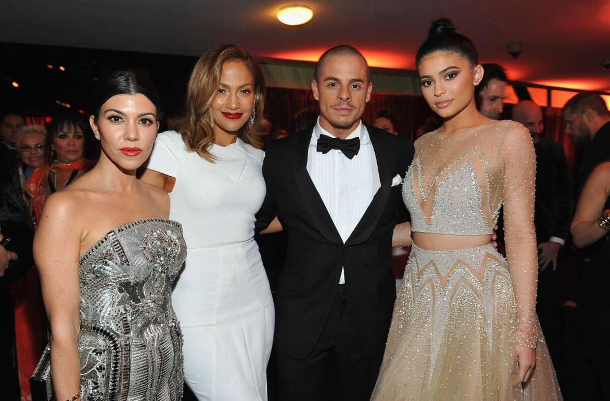 Kourtney Kardashian, Jennifer Lopez, Casper Smart and Kylie Jenner attend The 2016 InStyle and Warner Bros. 73rd annual Golden Globe Awards Post-Party at The Beverly Hilton Hotel on January 10, 2016 in Beverly Hills, California.