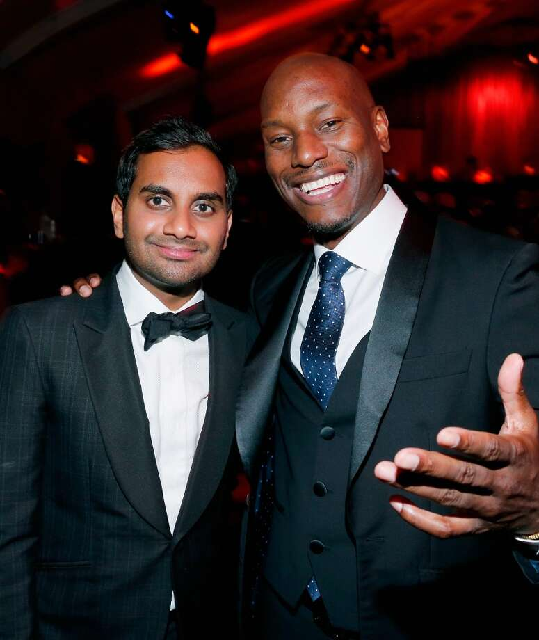 "Comedian Aziz Ansari and actor Tyrese Gibson pose for a photo at The Weinstein Company and Netflix Golden Globe Party on Jan. 10 in Beverly Hills. Ansari was recently a guest at Tyrese's backyard restaurant, ""GibsiHana."" Photo: Rich Polk, Getty Images For The Weinstein Company"