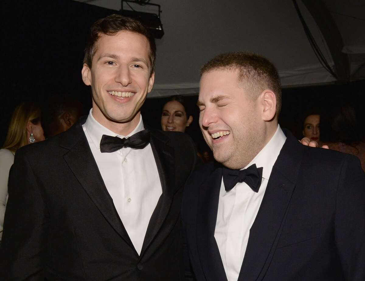 Actors Andy Samberg (L) and Jonah Hill during The Weinstein Company's 2016 Golden Globe Awards After Party at The Beverly Hilton Hotel on January 10, 2016 in Beverly Hills, California.