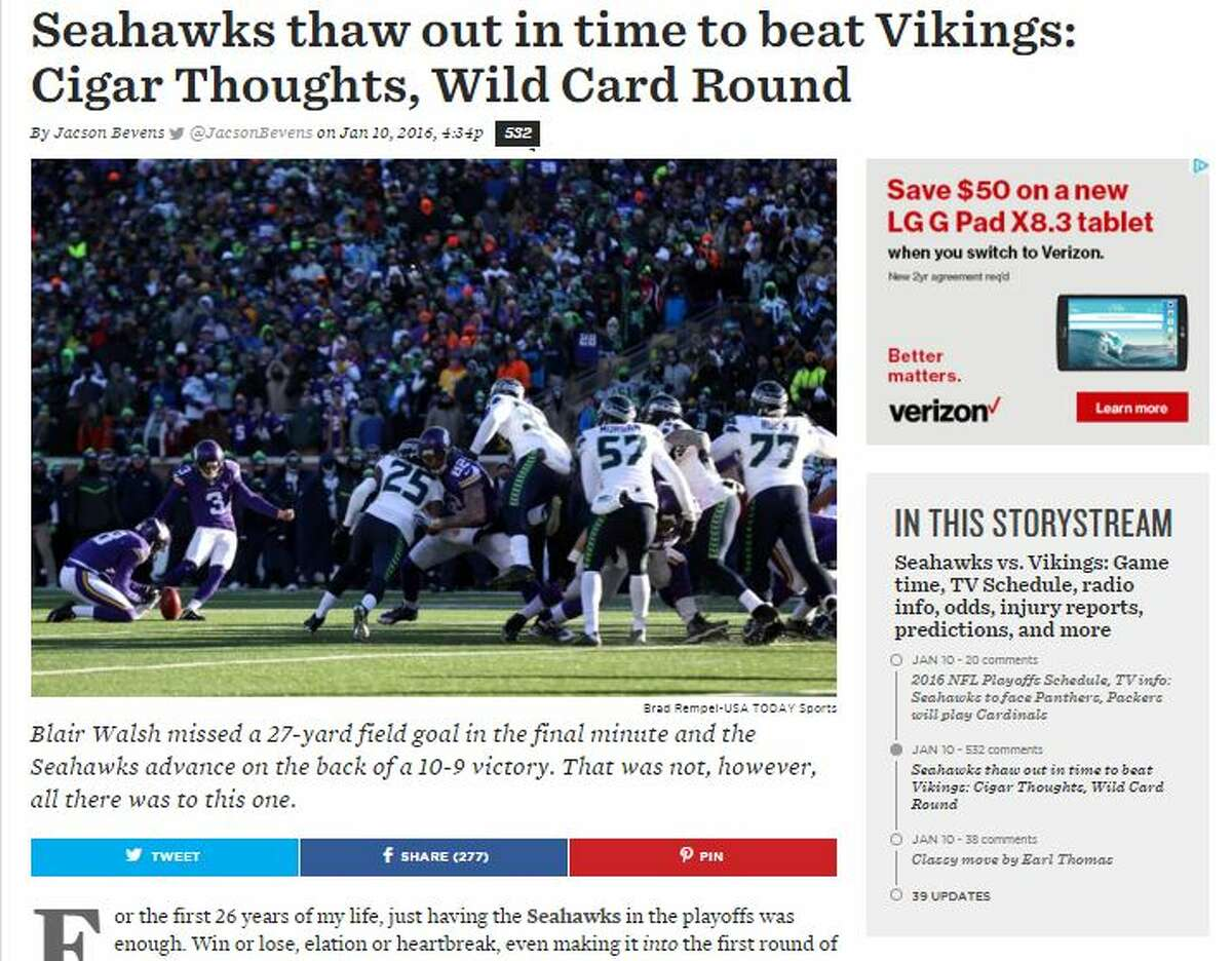 Field Gulls' Jacson Bevens On another heart-stopping Seahawks playoff game: