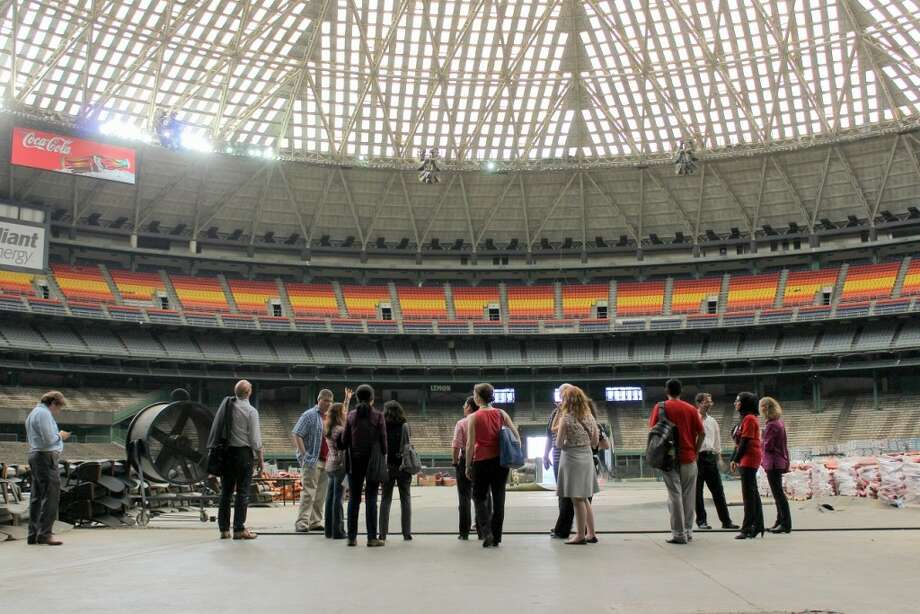 A 2015 press tour of the Astrodome. Photo: Ryan Holeywell