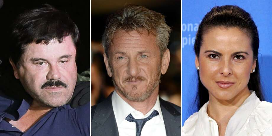"Days after his recapture, news of ""El Chapo's"" private interview with American actor Sean Penn (center) broke across international media organizations and the meet up was accredited to Mexican actress Kate del Castillo (right). Continue clicking to learn more about the actress who gave access to ""El Chapo."" Photo: JOSE MENDEZ/FACUNDO ARRIZABALAGA, EFE"