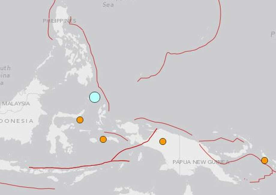 The USGS recorded this a powerful earthquake south of the Phillipines Monday.