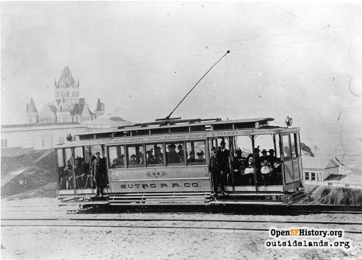 Sutro Railroad(circa 1896)Sutro Railroad. Streetcar approaching Cliff House View west from private right of way below Merrie Way, towards Cliff House - courtesay of OpenSFHistory.org.
