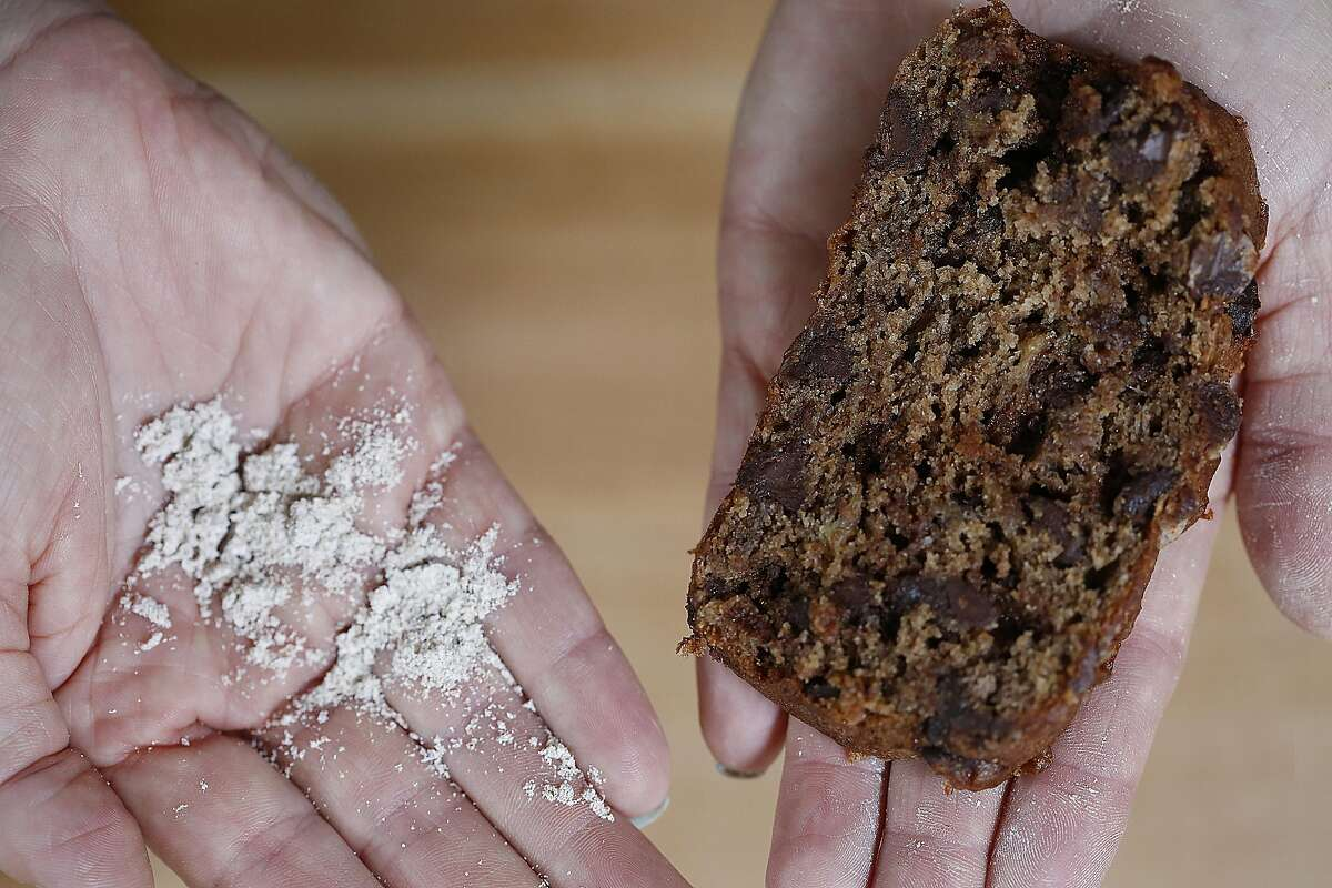 Megan Miller and Leslie Ziegler started Bitty Foods which make cricket flour and baked goods, and show banana bread using cricket flour in their test kitchen in Mill Valley, California, on Thursday, January 7, 2015.
