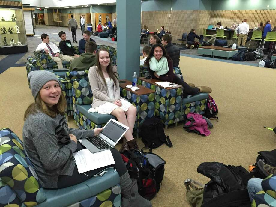 """Shepaug Valley School students gather in the """"mall."""" The 10,000-square-foot entry area recently underwent a $220,000 renovation that included installing new flooring and adding various types of seating. Photo: Contributed Photo / News-Times Contributed"""