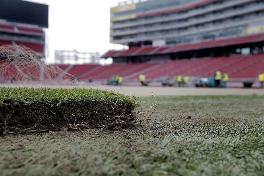 A piece of field turf sod lies on the artificial turf next to the field as NFL crews work to install a new field at Levi's Stadium in preparation of Super Bowl 50 in Santa Clara, Calif., on Monday, January 11, 2016. Photo: Carlos Avila Gonzalez, The Chronicle