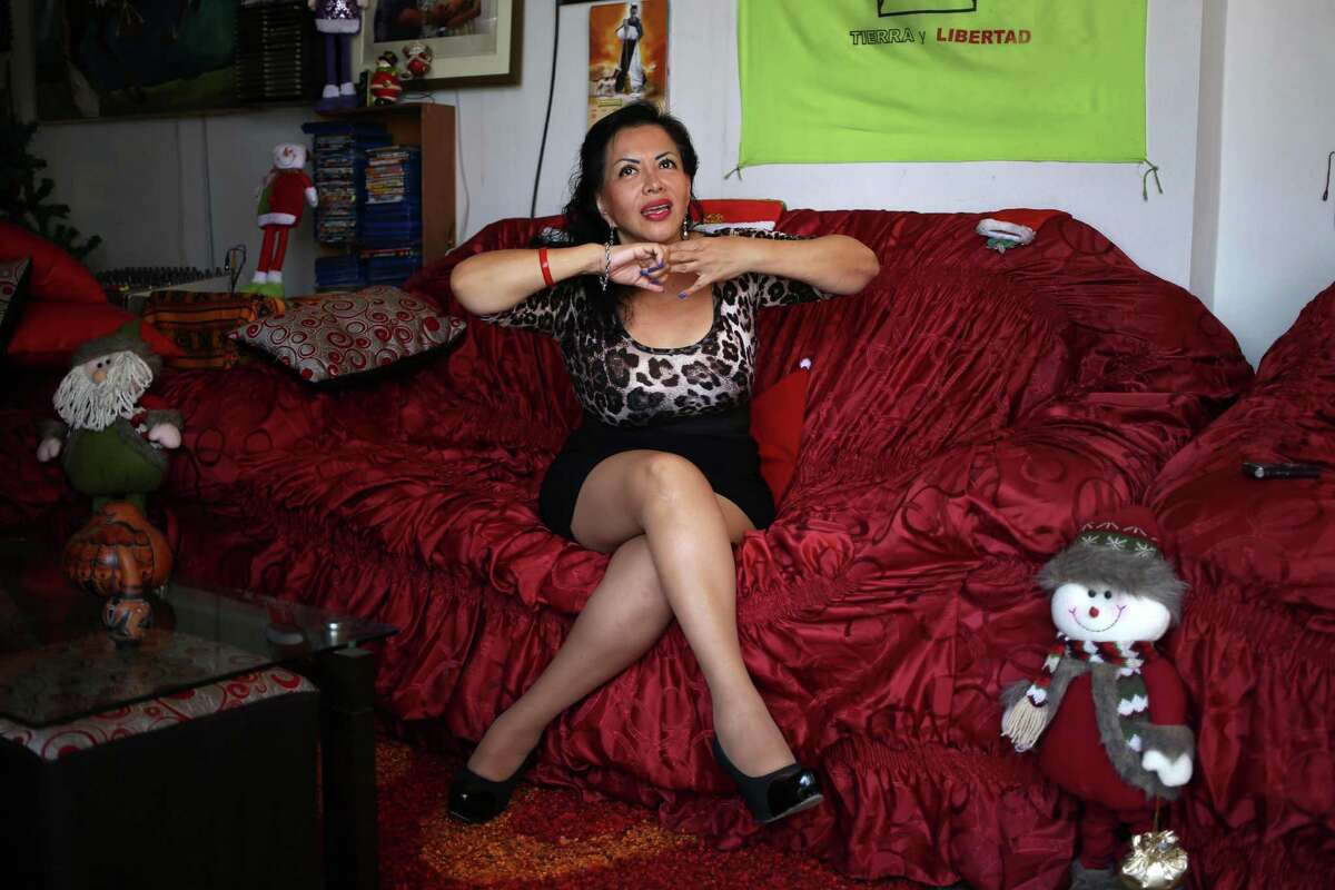 In this Jan. 5, 2016 photo, Angela Villon, a 51-year-old prostitute and activist, speaks during an interview at her home in Lima, Peru. Villon, who is running for the peruvian congress, is a vocal defender of sex worker's rights.