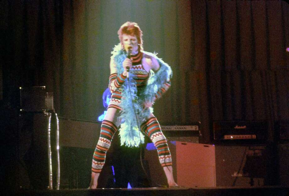 """David Bowie performed in Los Angeles in 1973 during his """"Ziggy Stardust"""" tour. His January death brought worldwide grief and numerous tributes, including one by Lady Gaga planned for tonight's Grammy Awards. Photo: Michael Ochs Archives / / Michael Ochs Archives"""