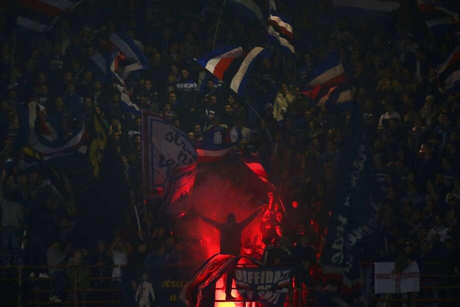 Sampdoria's supporters wave flags during the Italian Serie A football match Sampdoria Vs Juventus on January 10, 2016 at 'Luigi Ferraris Stadium' in Genoa.  Photo: Marco Bertorello, AFP / Getty Images