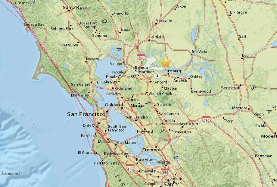 A small earthquake with magnitude of 2.9 struck in the East Bay on Monday night, according to the USGS. Photo: USGS