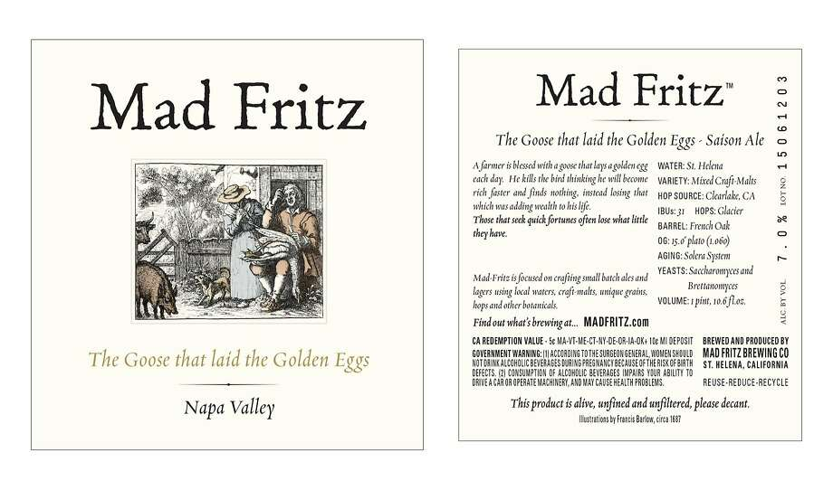 The label for Mad Fritz brewery's saison The Goose That Laid the Golden Eggs. Photo: Courtesy Of Mad Fritz