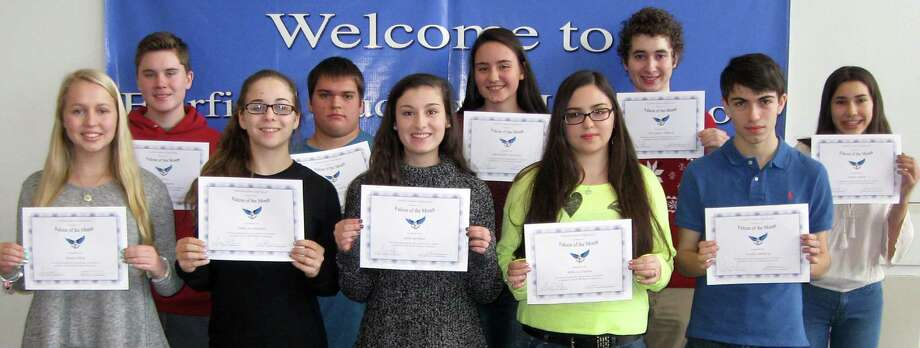 "Students selected as ""Falcons of the Month"" at Fairfield Ludlowe High School for December are, from left: Emma Littig, Liam Rosengren, Jamie-Jo Ginnetti, Matt Smith, Julia Gerbasi, Aleksandra Suvorova, Rebecca Duarte, Chris Hallock, Joey Ambury and Amber Smith. Not in photo are: Kelly Repaci, Grace Holmberg and Cailey Wingate. Photo: Contributed Photo / Contributed Photo / Fairfield Citizen"