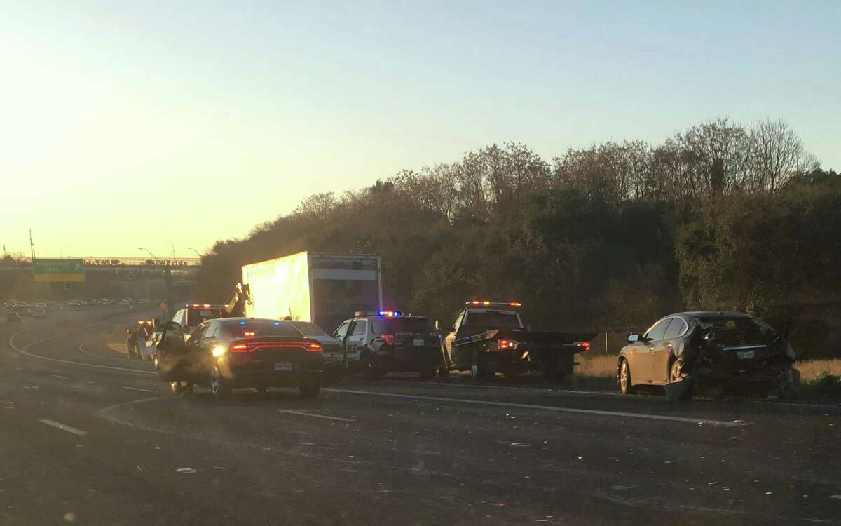 Emergency crews are working to clear the scene of the wreck, which happened just before 7 a.m. in the southbound lanes of 281 near Olmos Drive Jan 12, 2016.