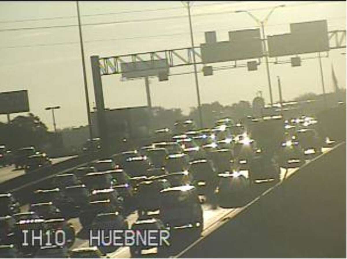 Traffic on Interstate 10 is snarled due to a crash near De Zavala Road.