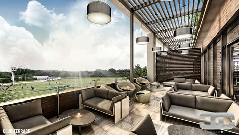 Club Terrace overlooking training fields shown in renderings for the Dallas Cowboys new exclusive club being built at the team's training facility in Frisco, Texas.