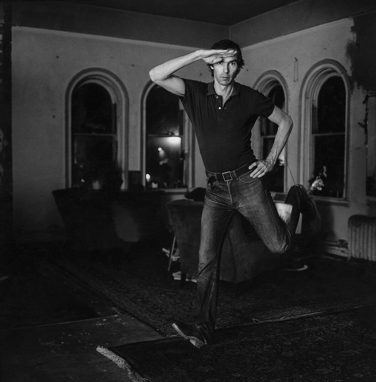 """Peter Hujar strikes a pose in his 1974 photo """"Self-Portrait Jumping (I),"""" which is included in """"Peter Hujar: 21 Pictures"""" through March 5 at Fraenkel Gallery."""