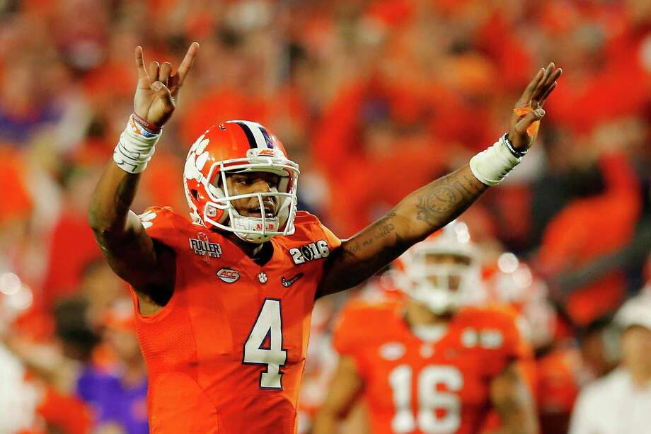 Deshaun Watson of the Clemson Tigers reacts against the Alabama Crimson Tide during the 2016 College Football Playoff national championship game at University of Phoenix Stadium on Jan. 11, 2016 in Glendale, Ariz. Photo: Kevin C. Cox /Getty Images / 2016 Getty Images
