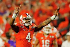 Deshaun Watson of the Clemson Tigers reacts against the Alabama Crimson Tide during the 2016 College Football Playoff national championship game at University of Phoenix Stadium on Jan. 11, 2016 in Glendale, Ariz.