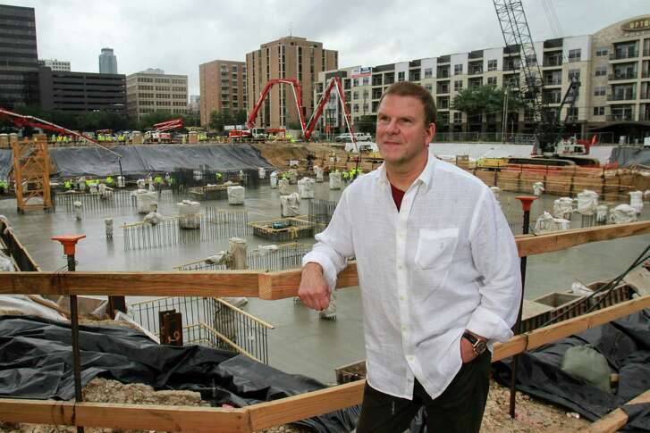 Landry's CEO Tilman Fertitta during the concrete pour for his The Post Oak,a mixed-use, master-planned project, a 35-story tower that combines hotel, office, residential, retail and restaurant offerings for the development. (For the Chronicle/Gary Fountain, October 30, 2015)