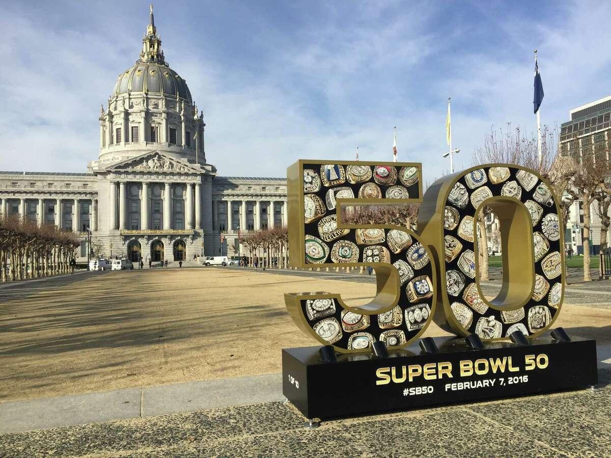 A dumpster full of Super Bowl 50 stuff.