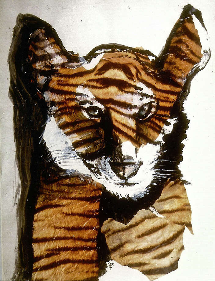 """""""Tiger,"""" a mixed-media work by Karen E. Gersch, will be among the animal portraits in an exhibit at the Westport Library through March 23. Photo: Contributed Photo / Westport News"""