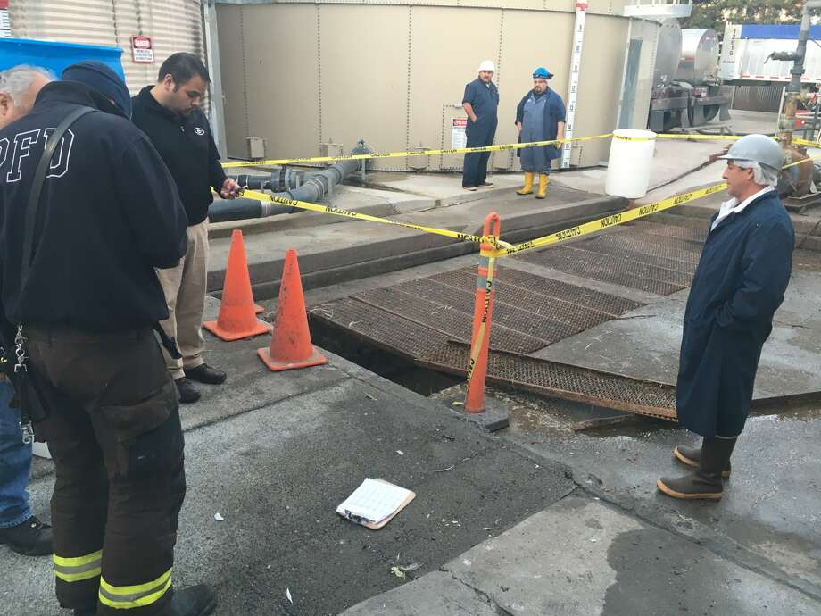 A security guard fell into this waste tank at a poultry processing plant in Petaluma on Tuesday, Jan. 12, 2016. Photo: BCN, Courtesy Of Battalion Chief Jeff Schach